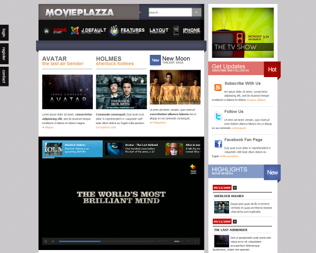 Шаблон joomla - Movie Plazza